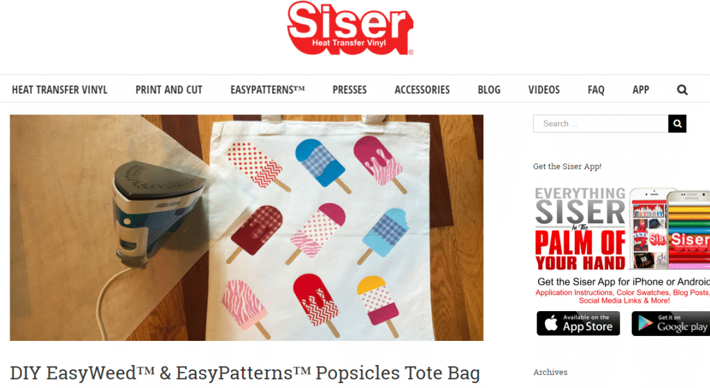 tote bag with heat transfer vinyl images of Popsicles