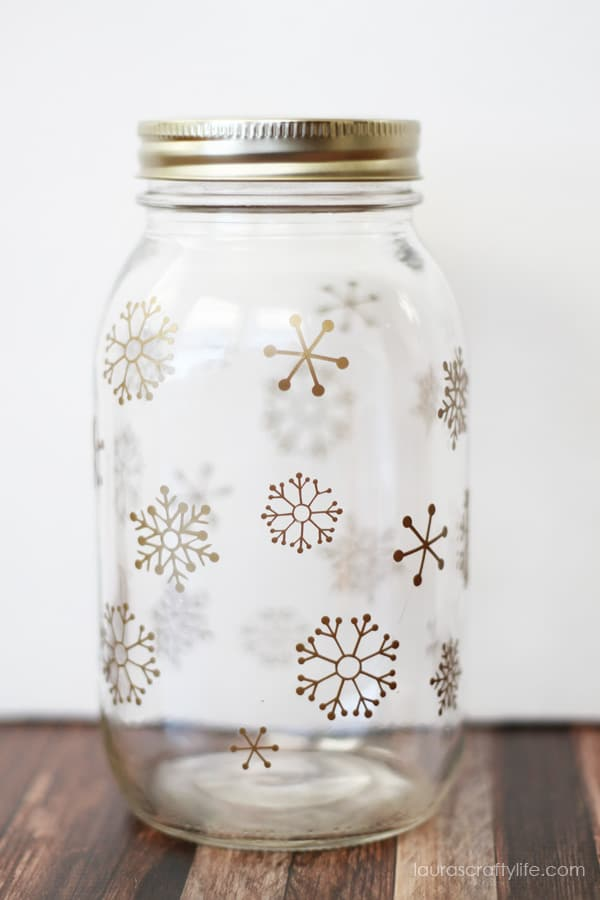 best adhesive vinyl project snow flake gift jar