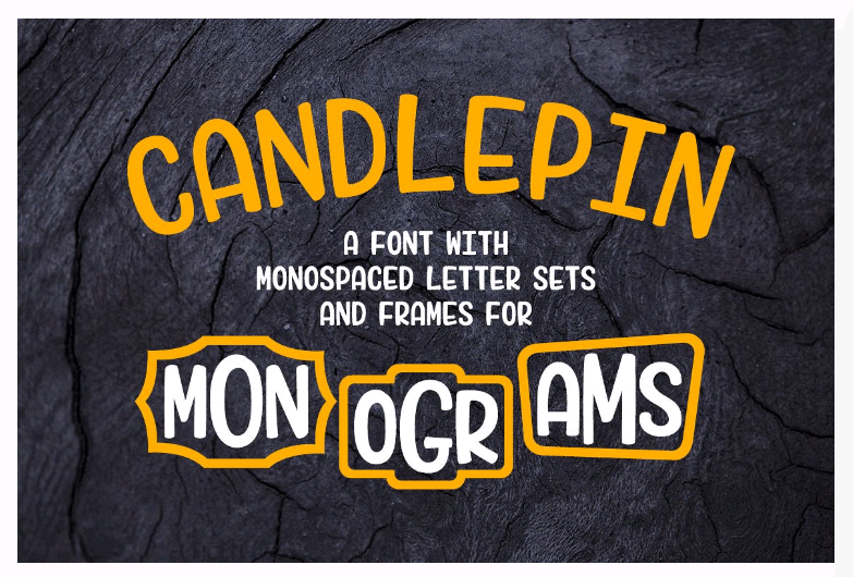fun monogram font candle pin with frames