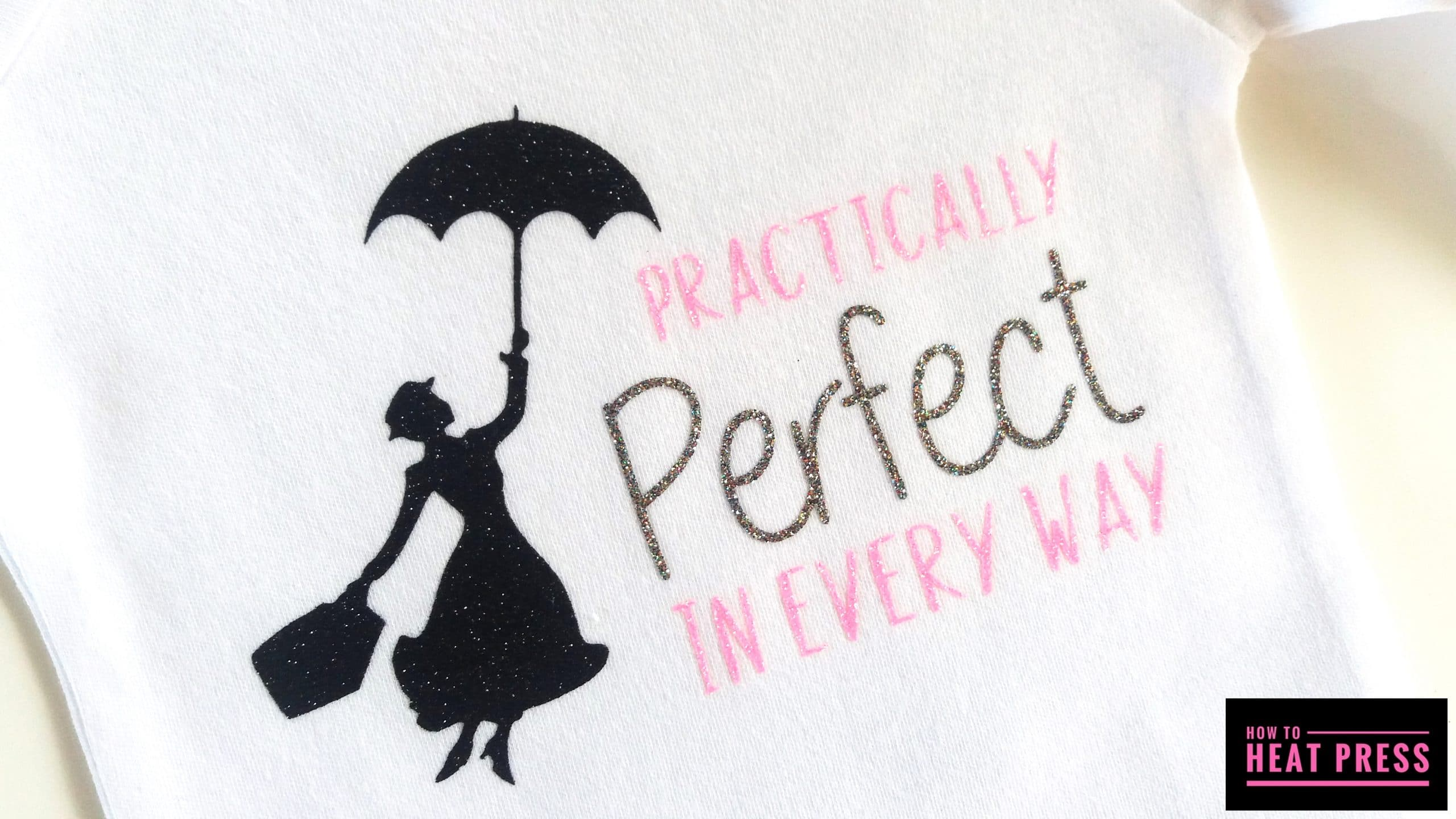 heat press project glitter vinyl baby onesies mary poppins