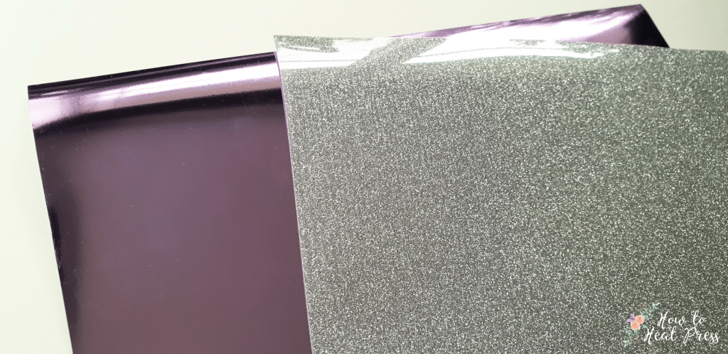 violet cricut foil iron on and silver siser glitter heat transfer vinyl sheets