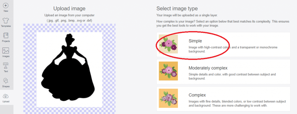 select complexity of image chosen to upload into design space