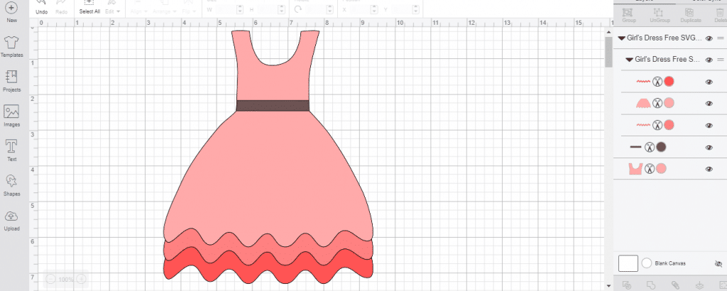 completed free svg of a dress in Cricut Design Space