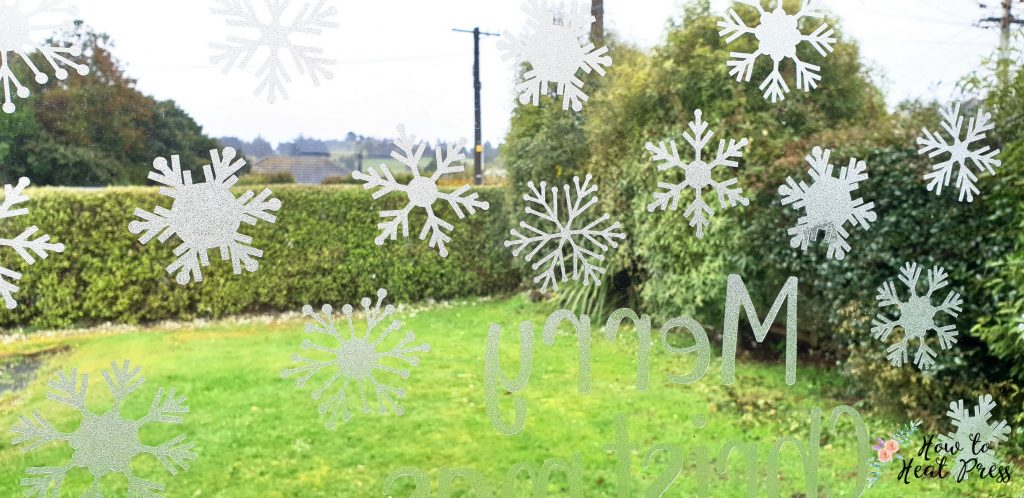 Christmas Snowflakes & Trees With Cricut Frosted Window Cling ideas