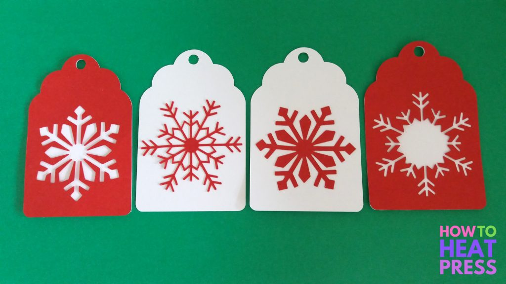 red and white snowflake cardstock gift tags