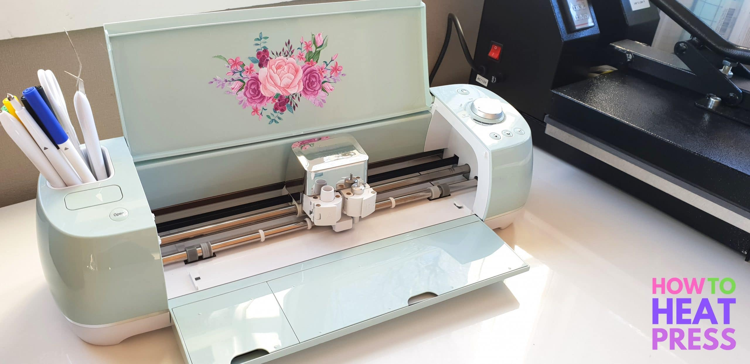 cricut explore air 2 decorated with printable vinyl stickers
