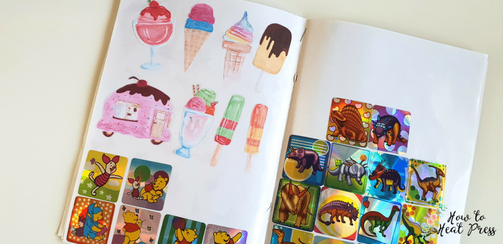 print and cut vinyl in sticker book