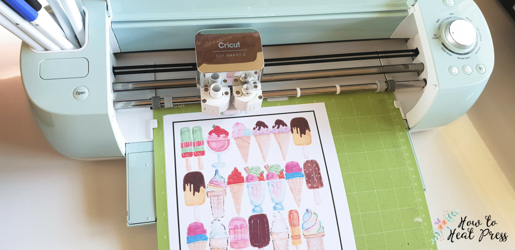 the cutting machine with cut around the outside of the cricut printable vinyl