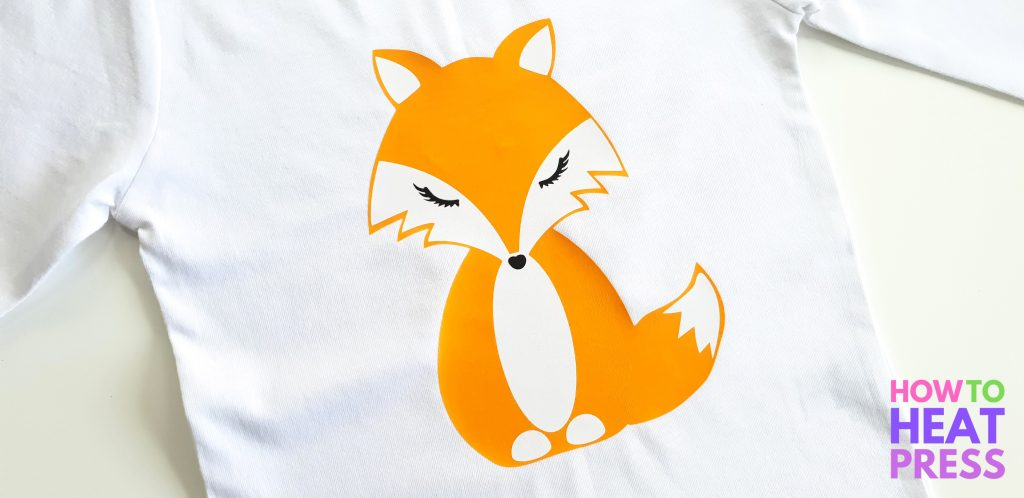 orange fox htv design on white shirt made with heat press