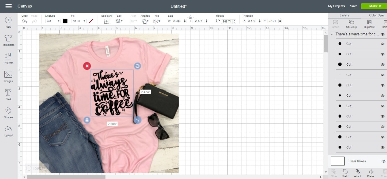 how to make a t-shirt mock up in Cricut Design Space using t-shirt templates