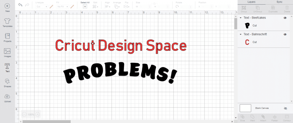 cricut design space problems