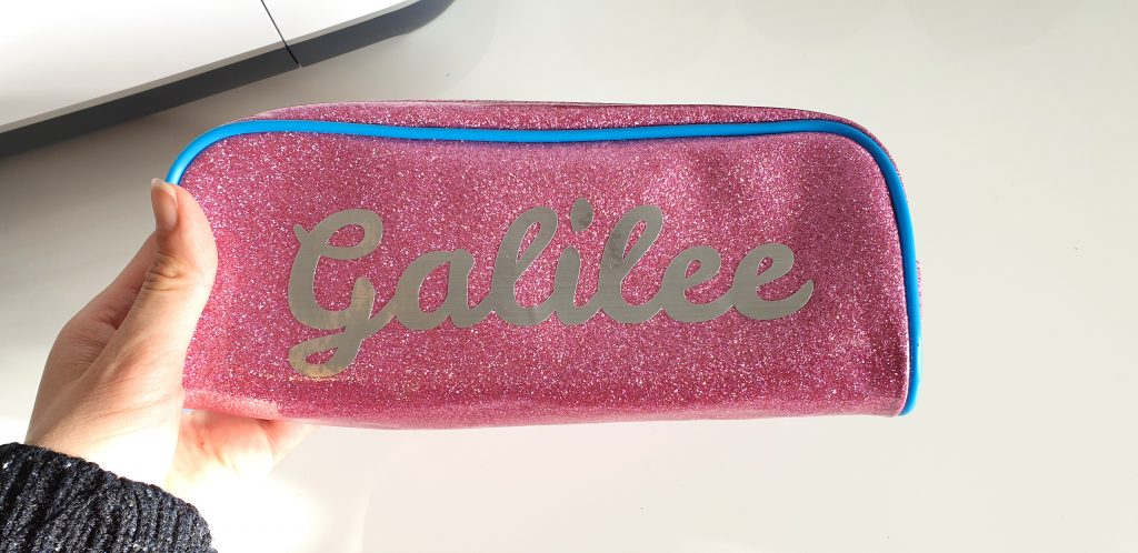 pink glitter case with vinyl name design