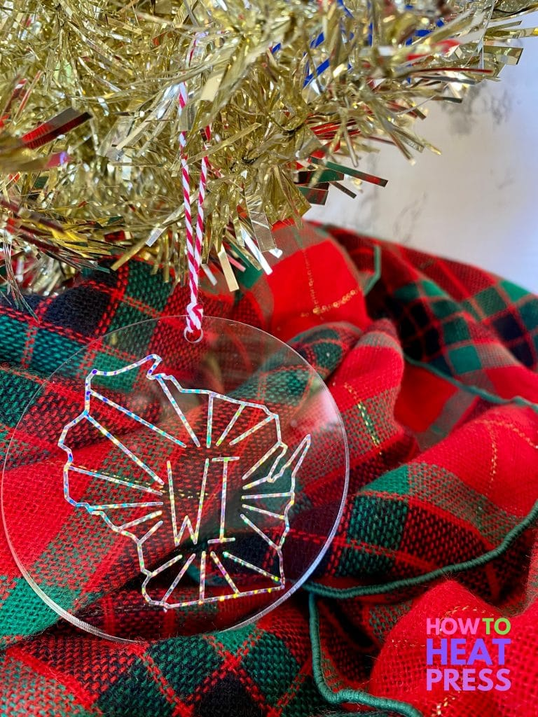 clear ornament with wisconsin state outline in glitter vinyl