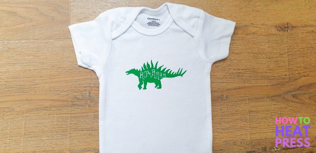 cricut joy baby onesie green flocked HTV dinosaur