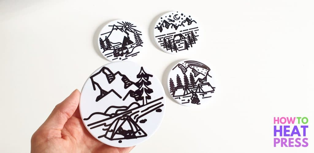 black and white coasters made with cricut joy infusible ink pens