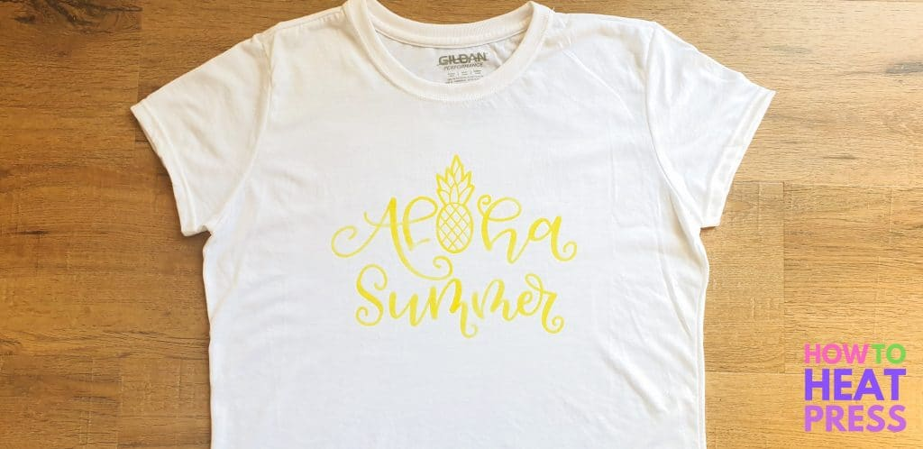 white shirt with yellow heat press design