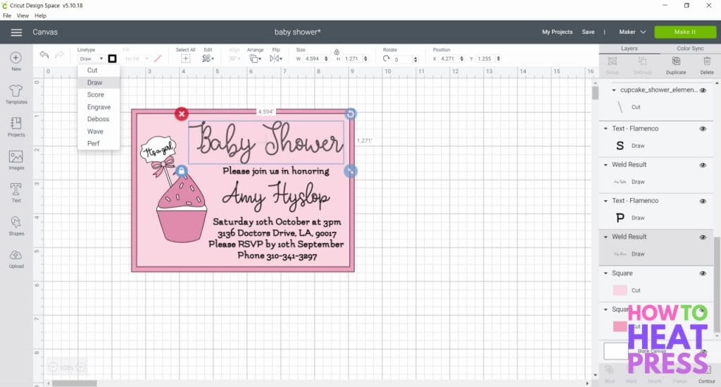 cricut design space screenshot project changing from cut to draw
