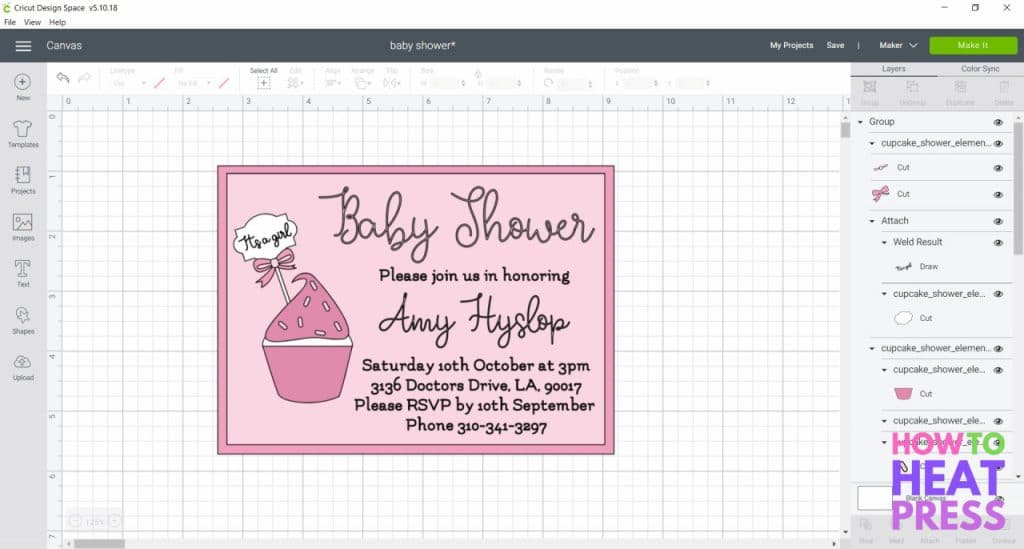 cricut design space screenshot pink baby shower invite using cricut pens