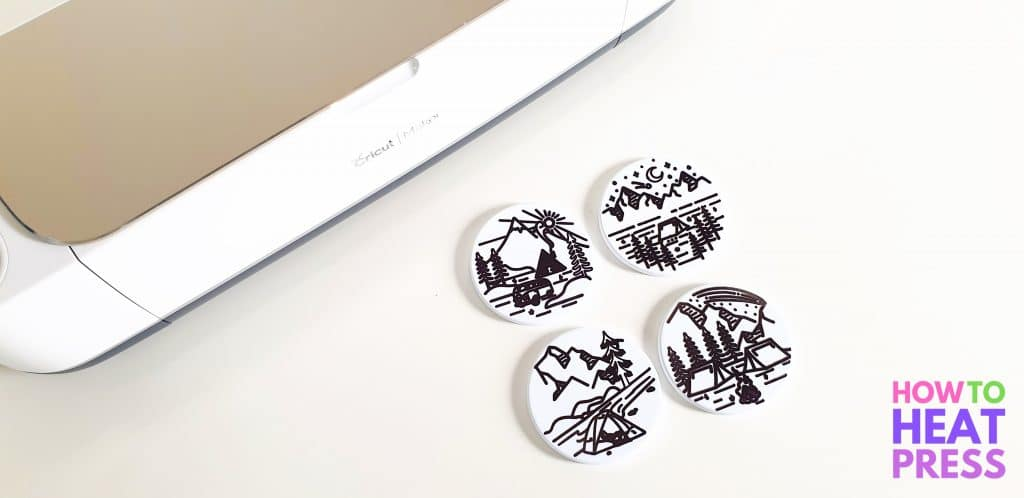 white coasters written with infusible ink cricut pens