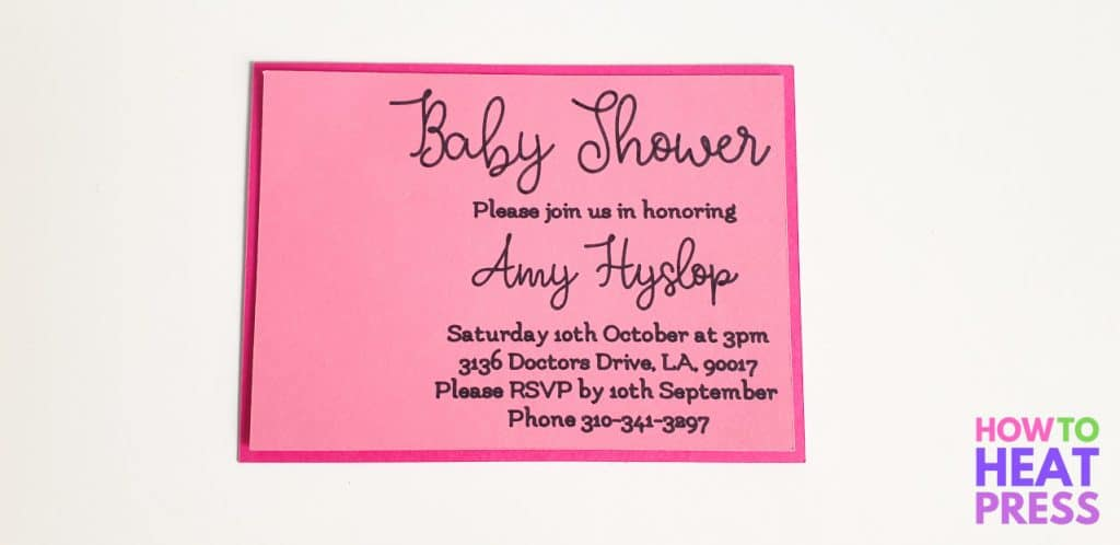 pink baby shower invitation made with cricut pens