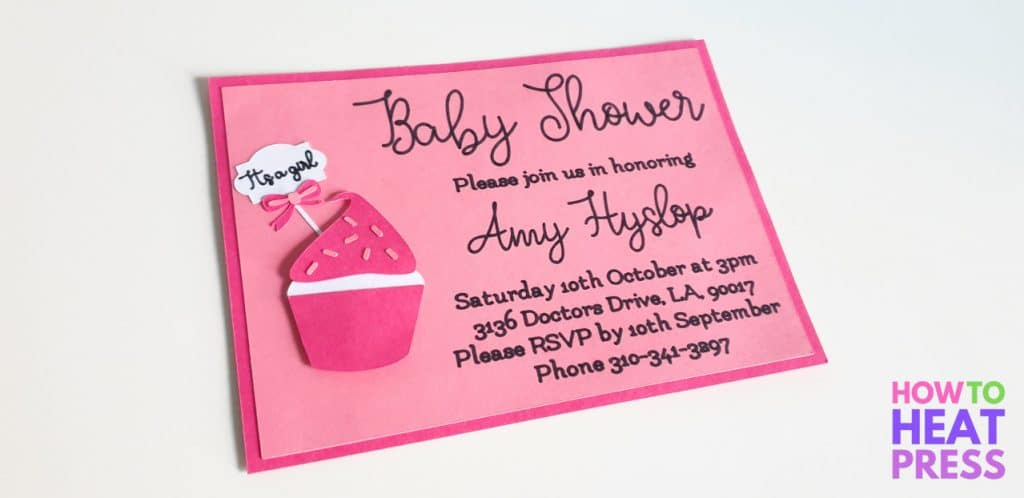 pink baby shower invitation written with cricut pens
