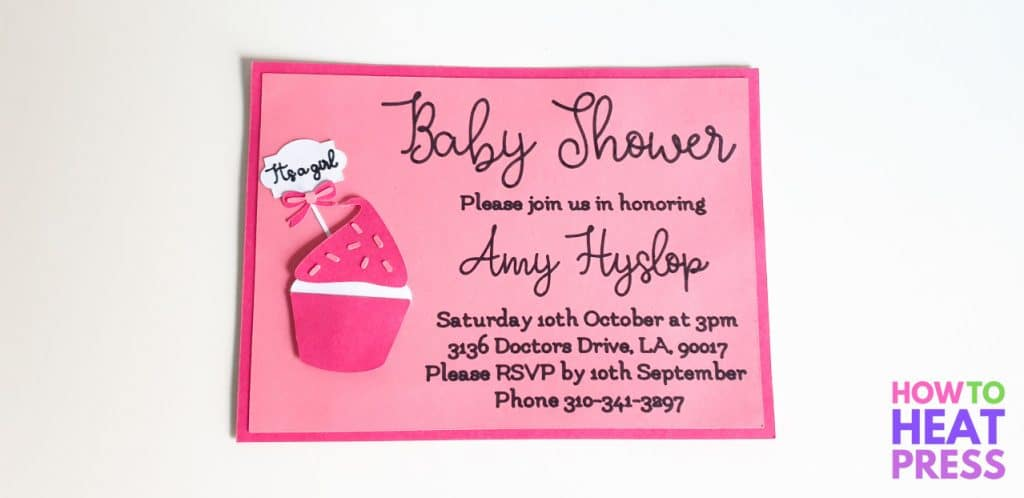 pink baby shower invitation made with cricut maker and pens