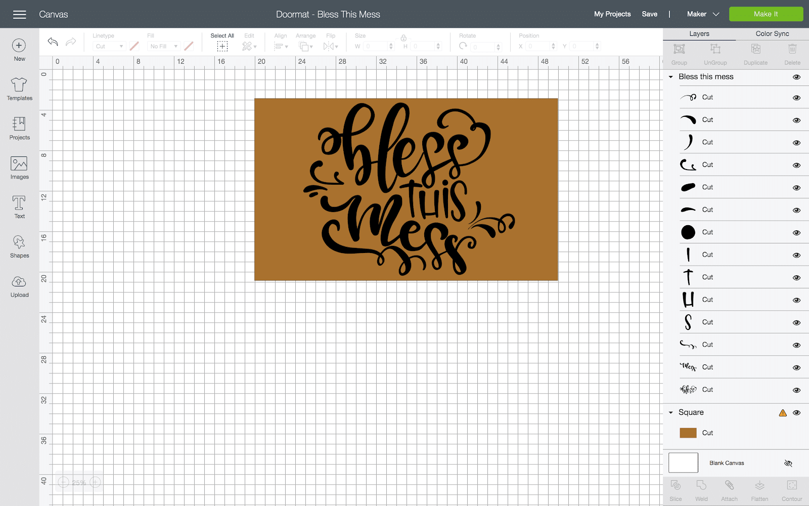 cricut design space diy doormat screenshot