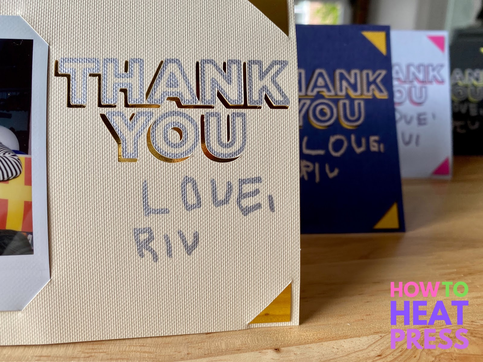 textured cards with thank you drawn and cutout with cricut joy and child handwriting