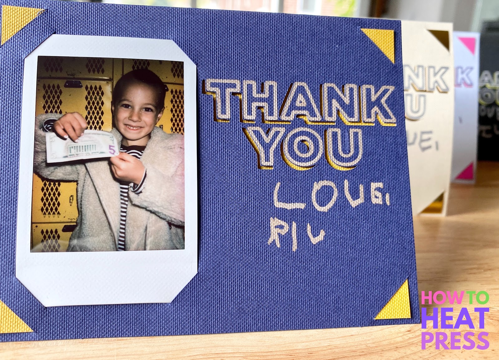 blue diy thank you card with yellow highlights and photo