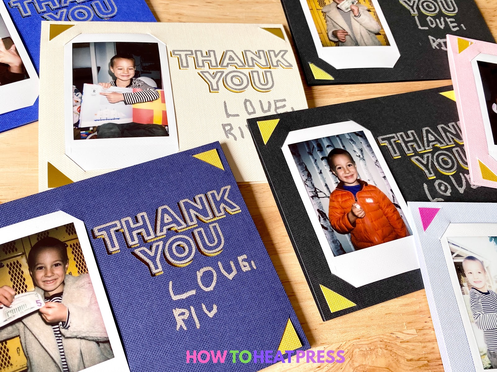 7 diy thank you cards featuring ink, cutouts, and photos