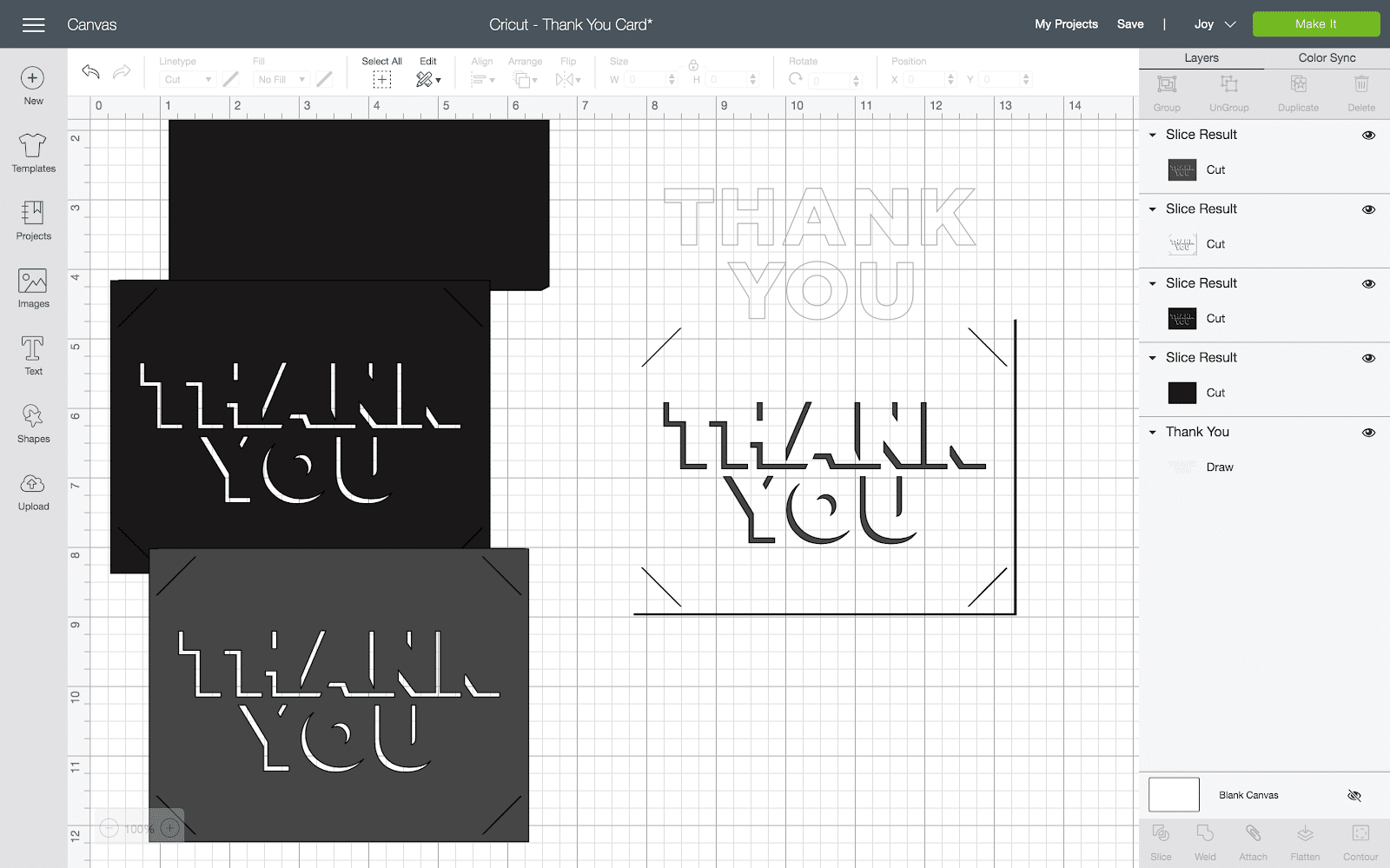 cricut design space image after using slice tool