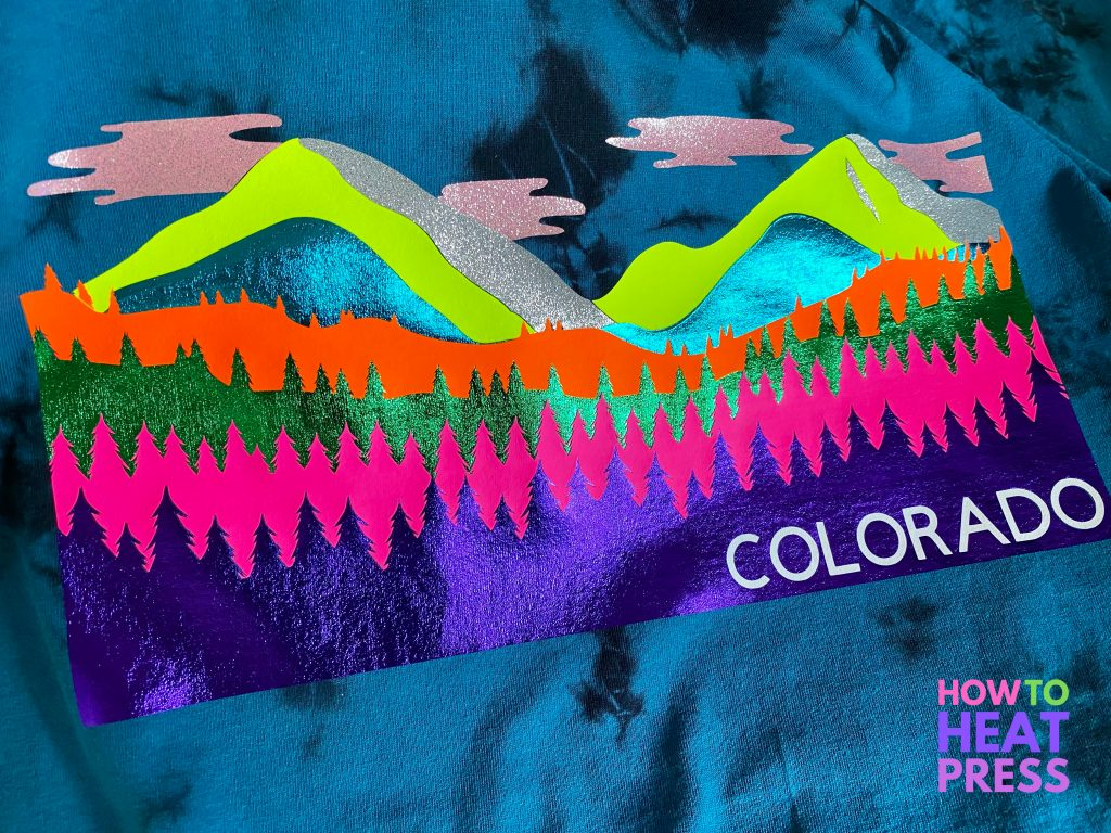 completed layerd HTV project with multicolored mountains and trees