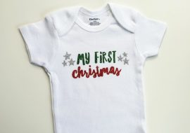 My First Christmas SVG Project – Baby Onesie With Siser Glitter HTV